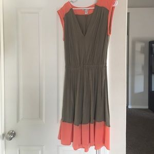 MNG coral and green dress